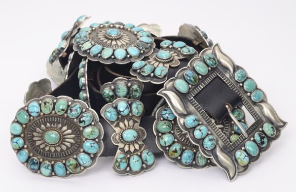 Closeup photo of 925 Sterling Silver Native OLD PAWN Concho Belt Blue & Green Turquoise 17 Stations