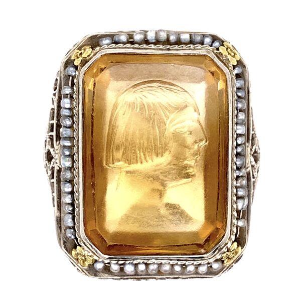Closeup photo of 14K White Gold Art Deco Citrine Intaglio & Seed Pearl Ring 6.6g, s7