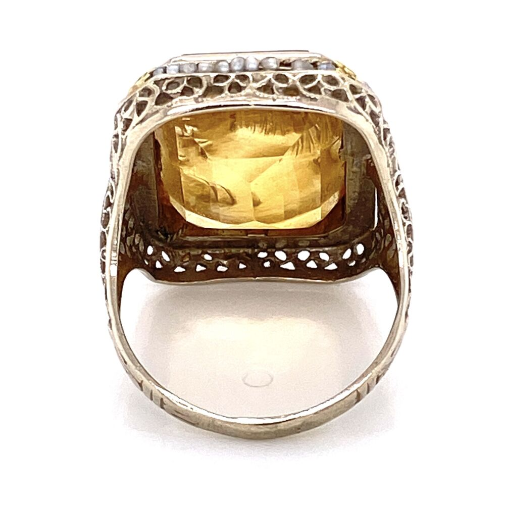 Image 2 for 14K White Gold Art Deco Citrine Intaglio & Seed Pearl Ring 6.6g, s7