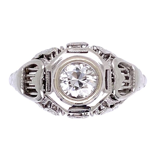Closeup photo of 14K White Gold Art Deco .35ct OEC Diamond Filigree Ring 2.95g, s5.5