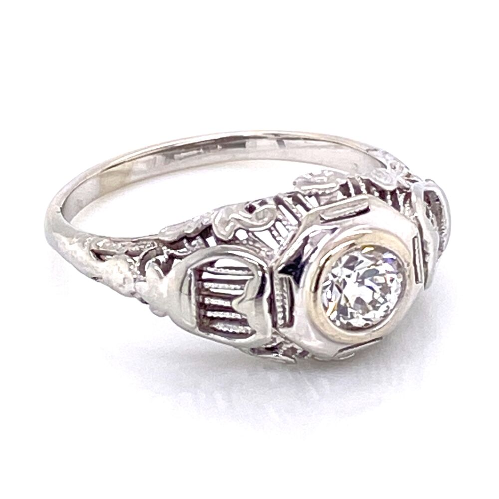 Image 2 for 14K White Gold Art Deco .35ct OEC Diamond Filigree Ring 2.95g, s5.5