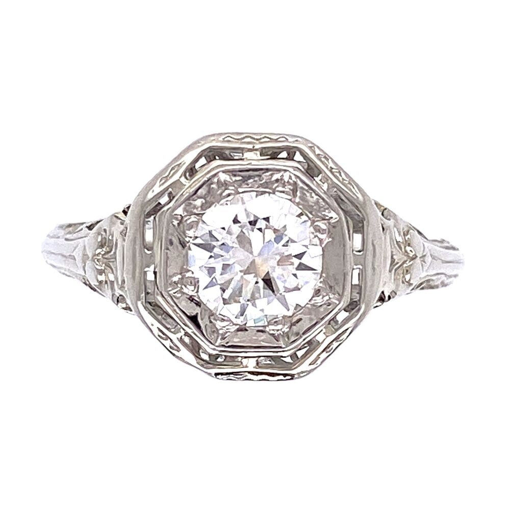 18K White Gold Art Deco .50ct OEC Diamond Filigree Ring 2.5g, s6.5