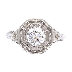 Closeup photo of 18K White Gold Art Deco .50ct OEC Diamond Filigree Ring 2.5g, s6.5