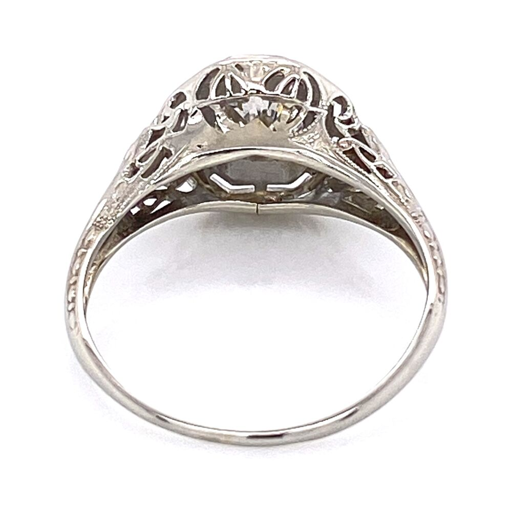 Image 2 for 18K White Gold Art Deco .50ct OEC Diamond Filigree Ring 2.5g, s6.5