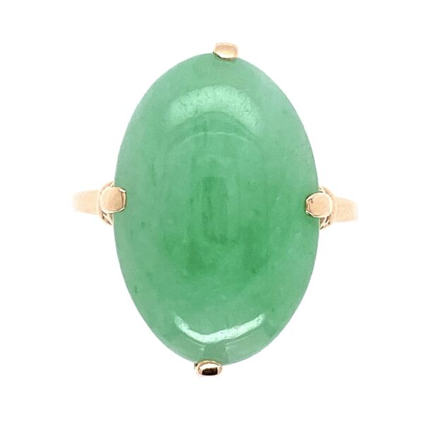 Closeup photo of 10K Yellow Gold Victorian Oval Green Jade Ring