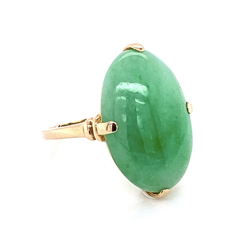 Image 2 for 10K Yellow Gold Victorian Oval Green Jade Ring