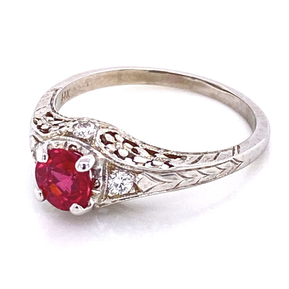 Image 2 for 14K White Gold .97ct Red Spinel & .20tcw Diamond Engraved Ring 3.3g, s8.5