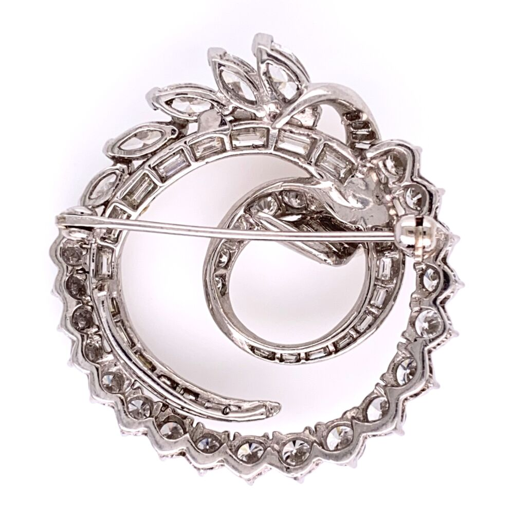 """Image 2 for Platinum 1950's Circle Spray Brooch 4.41tcw 1 1/3"""" Tall 14.1g"""