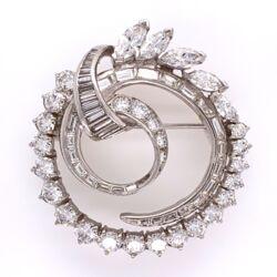 "Closeup photo of Platinum 1950's Circle Spray Brooch 4.41tcw 1 1/3"" Tall 14.1g"