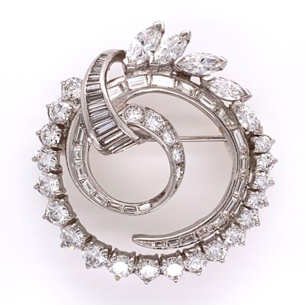 "Closeup photo of Platinum 1950's Circle Spray Brooch 4.41tcw 1 1/3"" Tall 14.1g"