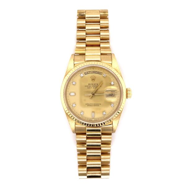 Closeup photo of 18K Yellow Gold ROLEX 36mm Gent's President with Factory Champagne Diamond Dial Box & Papers