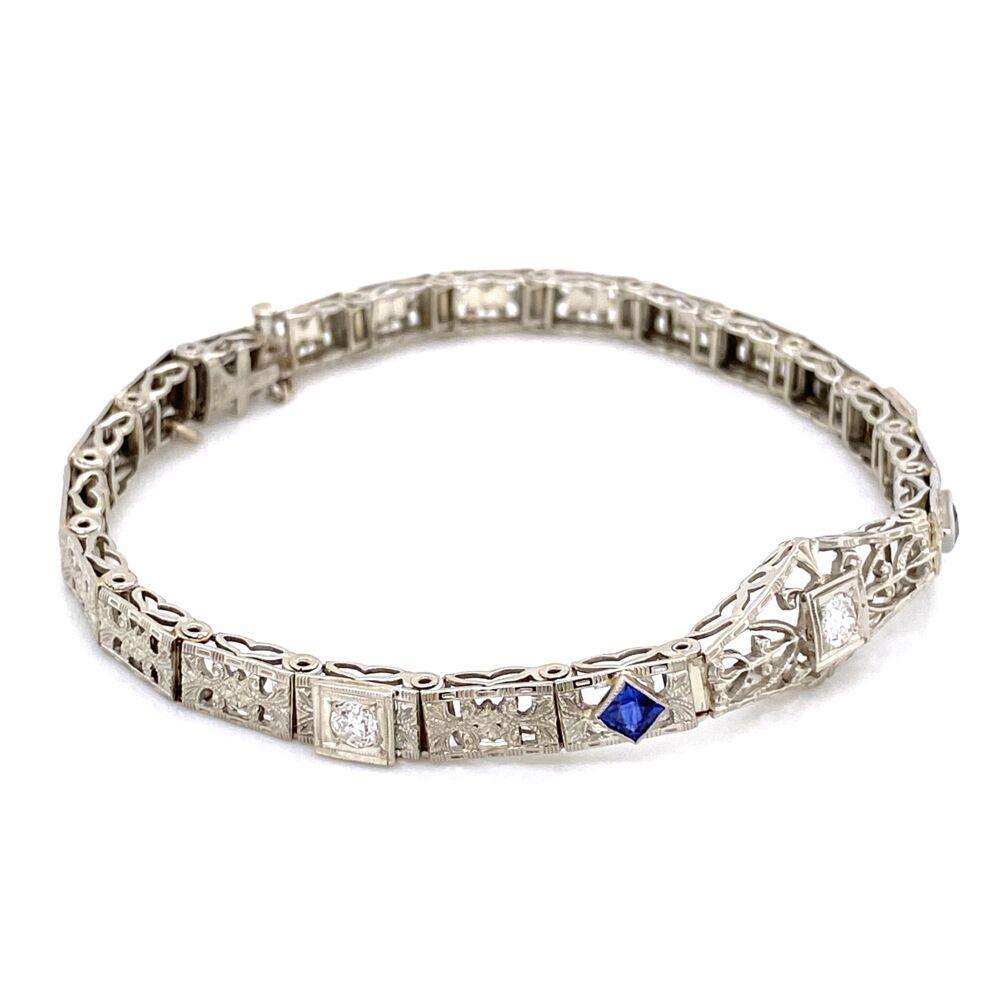 """Image 2 for 14K / 18K White Gold Art Deco Bracelet .35tcw Diamonds, Syn. Sapphires 11.6g, 6.5"""""""