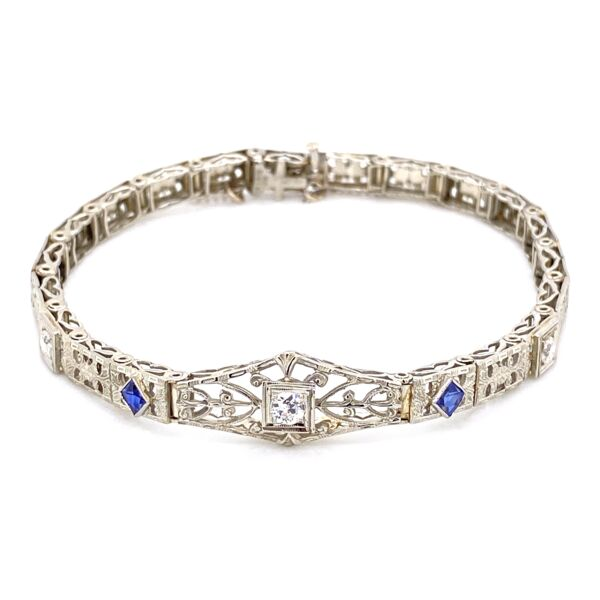 Closeup photo of 14K / 18K White Gold Art Deco Bracelet .35tcw Diamonds, Syn. Sapphires 11.6g, 6.5""