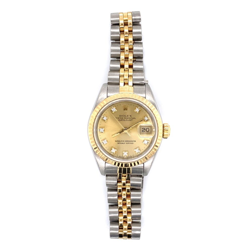 ROLEX 69173 Ladies 26mm 2tone 18K Yellow Gold Stainless with Factory Champagne Diamond Dial