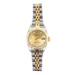Closeup photo of ROLEX 69173 Ladies 26mm 2tone 18K Yellow Gold Stainless with Factory Champagne Diamond Dial