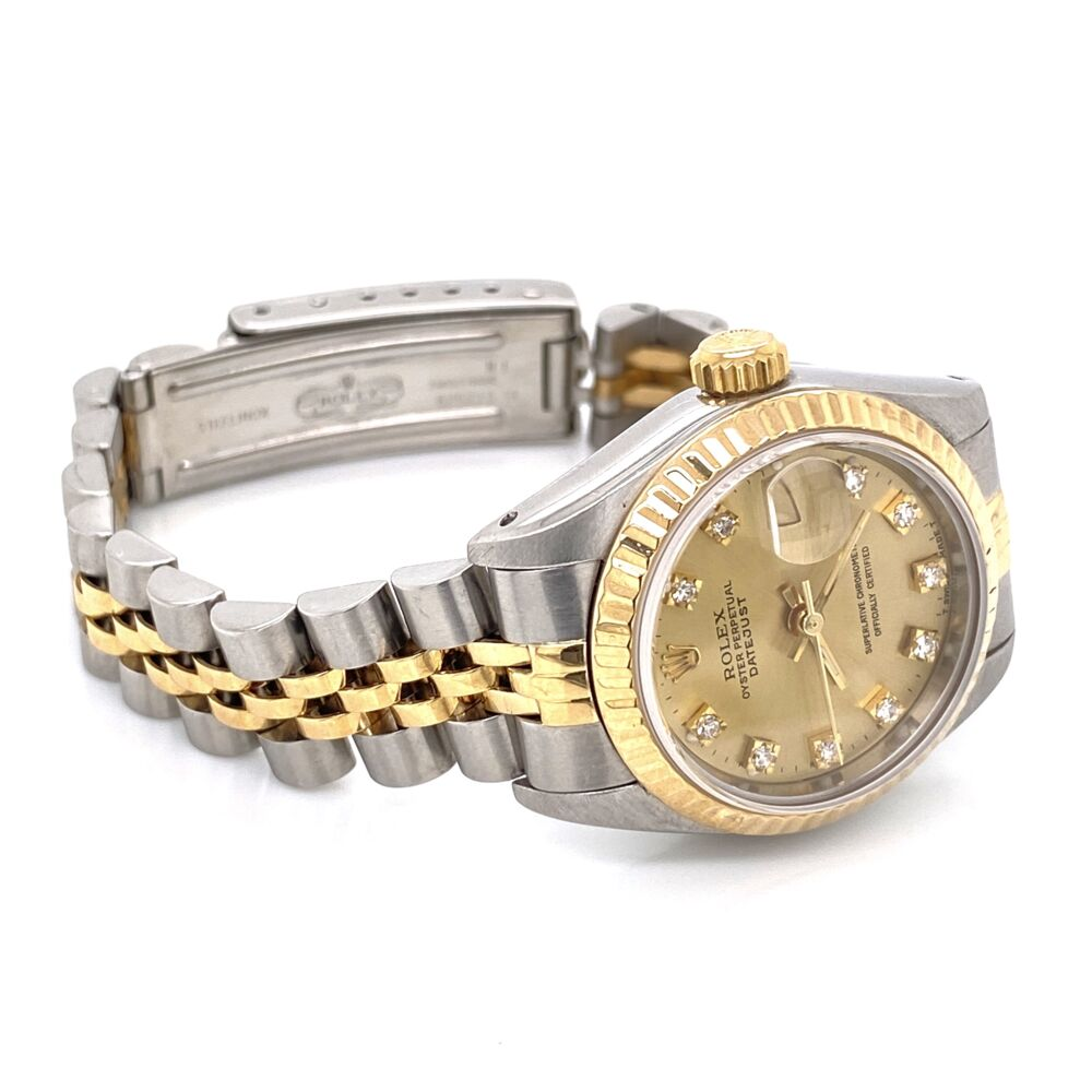 Image 2 for ROLEX 69173 Ladies 26mm 2tone 18K Yellow Gold Stainless with Factory Champagne Diamond Dial