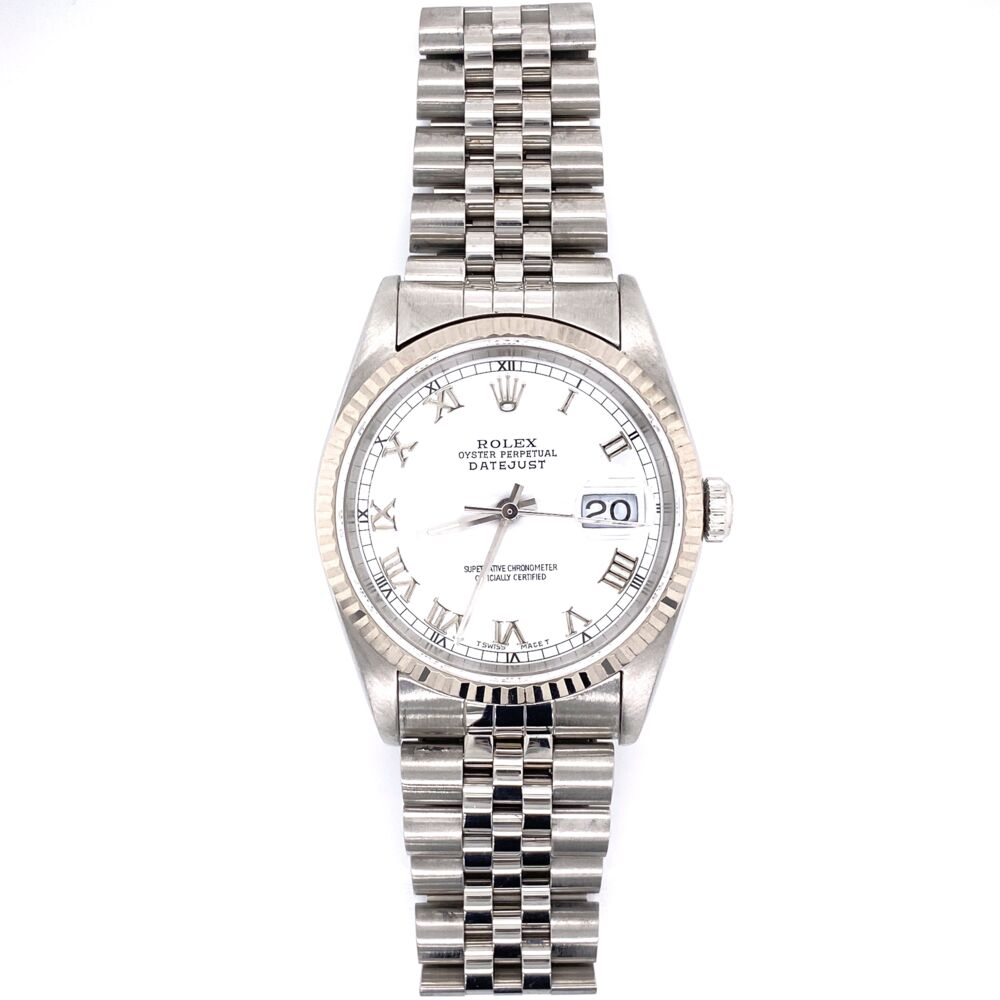 ROLEX 16234 36mm Gent Stainless Steel White Roman Numeral Diam