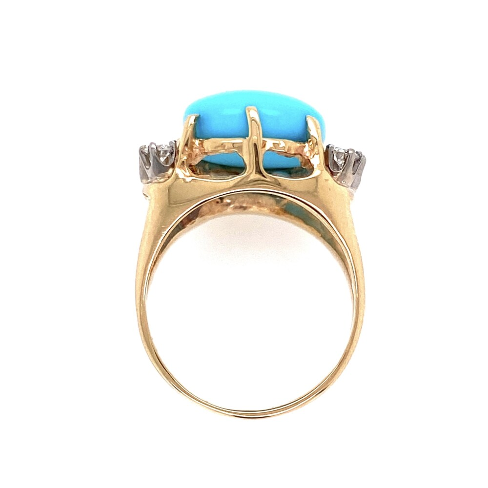 Image 2 for 14K Yellow Gold 6.45ct Oval Cabochion Turquoise Ring 7.1g, s5.75
