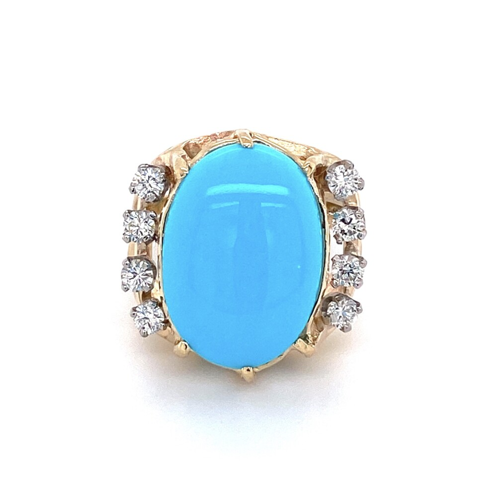 14K Yellow Gold 6.45ct Oval Cabochion Turquoise Ring 7.1g, s5.75