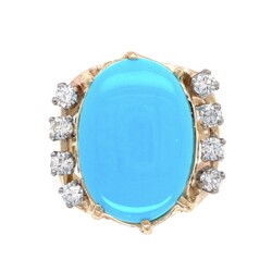 Closeup photo of 14K Yellow Gold 6.45ct Oval Cabochion Turquoise Ring 7.1g, s5.75