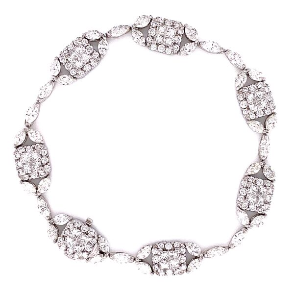 "Closeup photo of 18K White Gold GREGG RUTH Mosaic Diamond Link Bracelet 8.00tcw 13.4g, 6.75"" Long"
