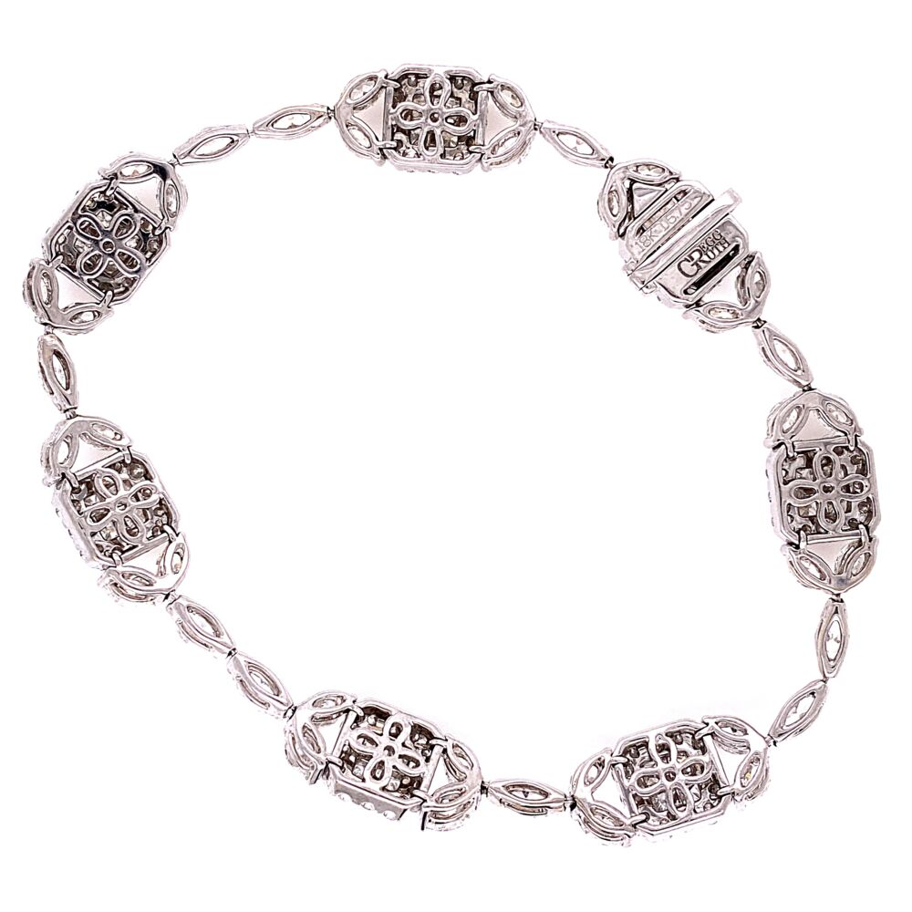 """Image 2 for 18K White Gold GREGG RUTH Mosaic Diamond Link Bracelet 8.00tcw 13.4g, 6.75"""" Long"""