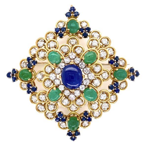 Closeup photo of 18K Yellow Gold 1960's Pendant Brooch 3.00tcw Diamond 4tcw Sapphire & 2.5tcw Emeralds 29.0g