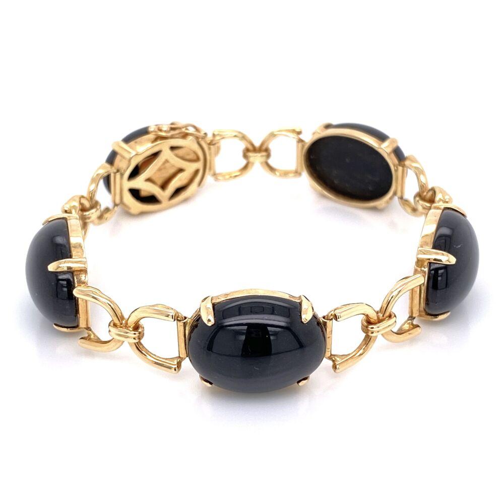 "14K Yellow Gold GUMP'S Black Jade Link Bracelet 18.0g, 6"""