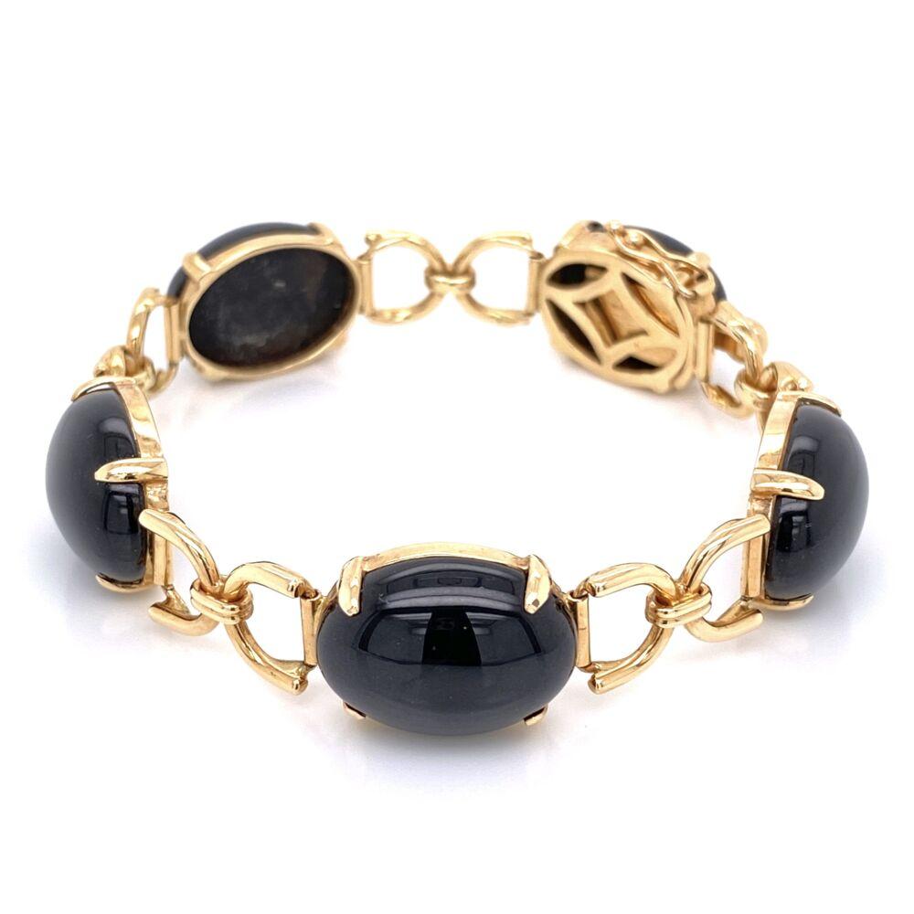 """Image 2 for 14K Yellow Gold GUMP'S Black Jade Link Bracelet 18.0g, 6"""""""