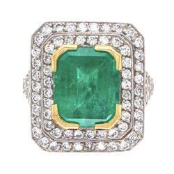 Closeup photo of Platinum 4.52ct Emerald Cut Emerald Ring with 1.05tcw Diamonds 9.5g