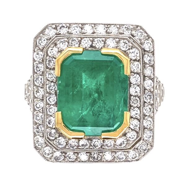Closeup photo of Platinum 4.52ct Emerald Cut Emerald Ring with 1.05tcw Diamonds 9.5g, s6.75