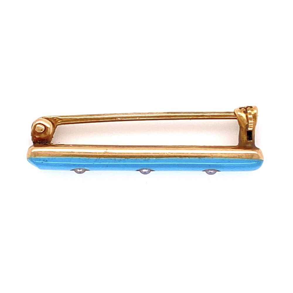 Image 4 for 14K YG Art Deco CARTIER Brooch Powder Blue Enamel & Seed Pearls