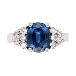 Closeup photo of 14K White Gold 2.00ct Oval Blue Sapphire & .50tcw Diamond Ring 5.2g, s6
