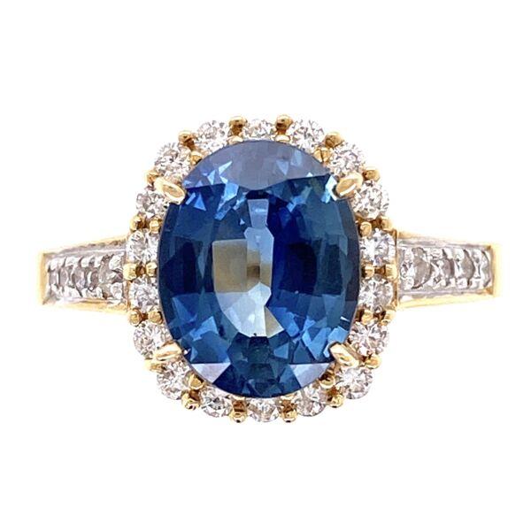 Closeup photo of 18K Yellow Gold 2.75ct Oval Sapphire & .40tcw Diamond Ring 5.2g, s6.25
