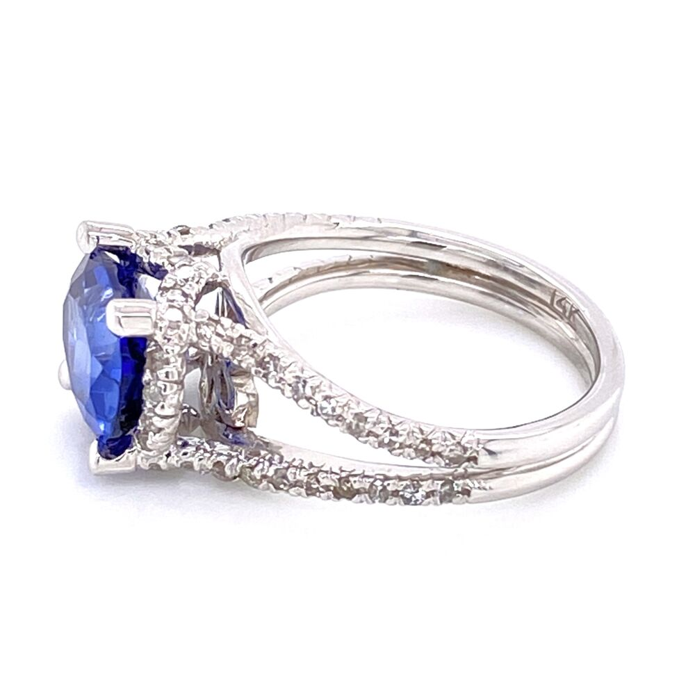 Image 2 for 14K White Gold East West 3.00tcw Oval Sapphire & .50tcw Diamond Ring 5.6g, s6