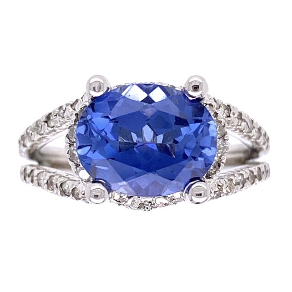 Closeup photo of 14K White Gold East West 3.00tcw Oval Sapphire & .50tcw Diamond Ring 5.6g, s6