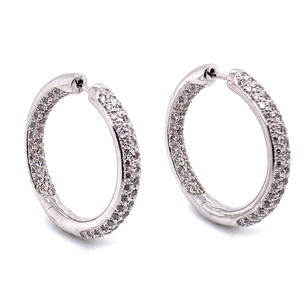 14K White Gold Pave 3-Row Diamonds Inside Out Hoops 2.02tcw, 9.9g, 1""