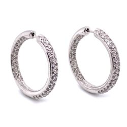 """Closeup photo of 14K White Gold Pave 3-Row Diamonds Inside Out Hoops 2.02tcw, 9.9g, 1"""""""