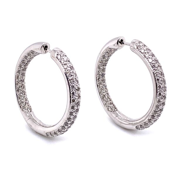 Closeup photo of 14K White Gold Pave 3-Row Diamonds Inside Out Hoops 2.02tcw, 9.9g, 1""