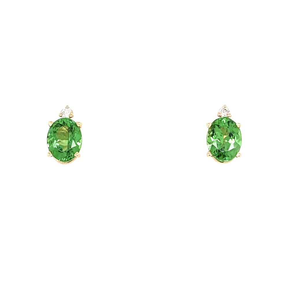 14K Yellow Gold 1.5tcw Oval Tsavorite Stud Earrings With .05tcw Diamonds 1.6g