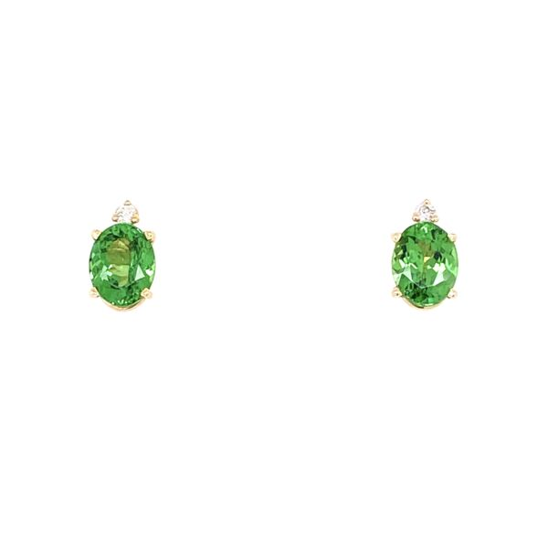 Closeup photo of 14K Yellow Gold 1.5tcw Oval Tsavorite Stud Earrings With .05tcw Diamonds 1.6g