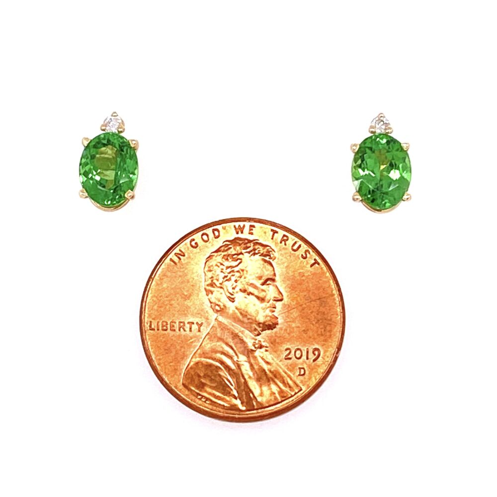 Image 2 for 14K Yellow Gold 1.5tcw Oval Tsavorite Stud Earrings With .05tcw Diamonds 1.6g