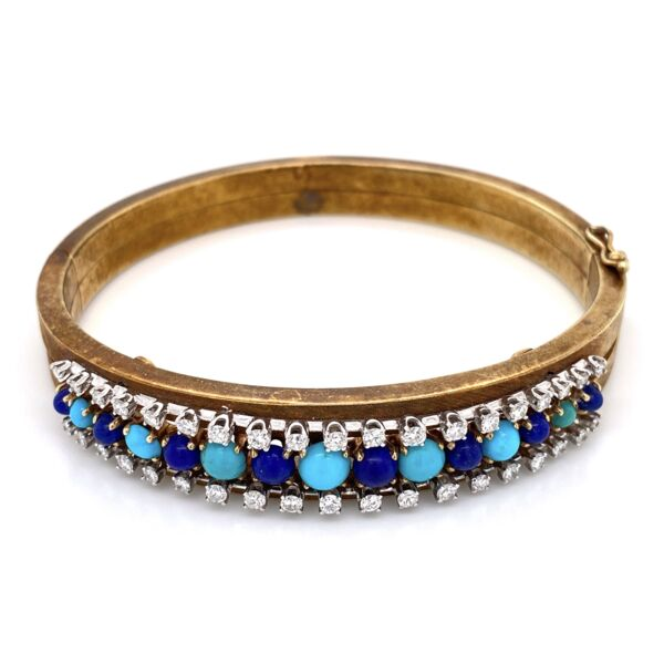 Closeup photo of 14K Yellow Gold Lapis & Turquoise Bangle  with 1.00tcw Diamond Bangle 26.9g,