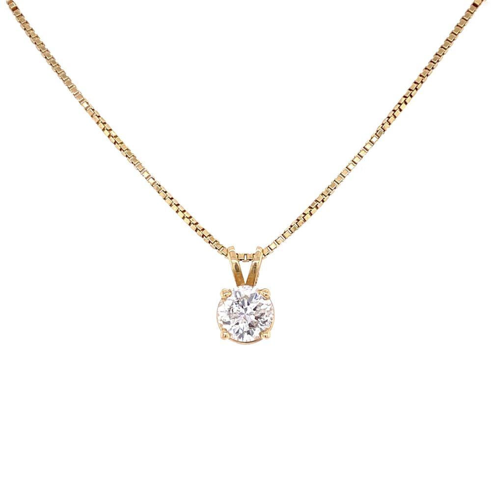 "14K Yellow Gold .91ct Round Diamond Solitaire on 18"" box chain 6.2g"