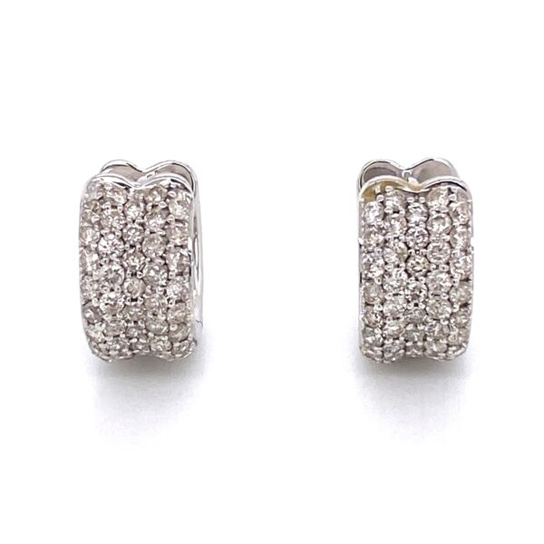 Closeup photo of 14K White Gold Pave Huggy Hoop Earrings 1.14tcw 5.9g