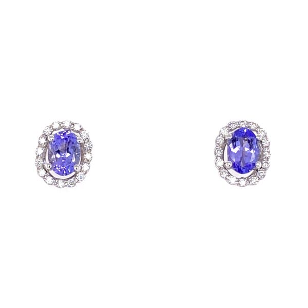 Closeup photo of 18K White Gold 1tcw Oval Tanzanite & .33tcw Diamond Stud Earrings 3.3g