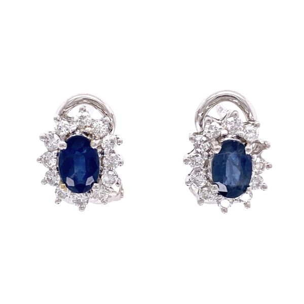 Closeup photo of 18K White Gold 1.00tcw Sapphire & .75tcw Diamond Halo Clip Earrings 4.3g