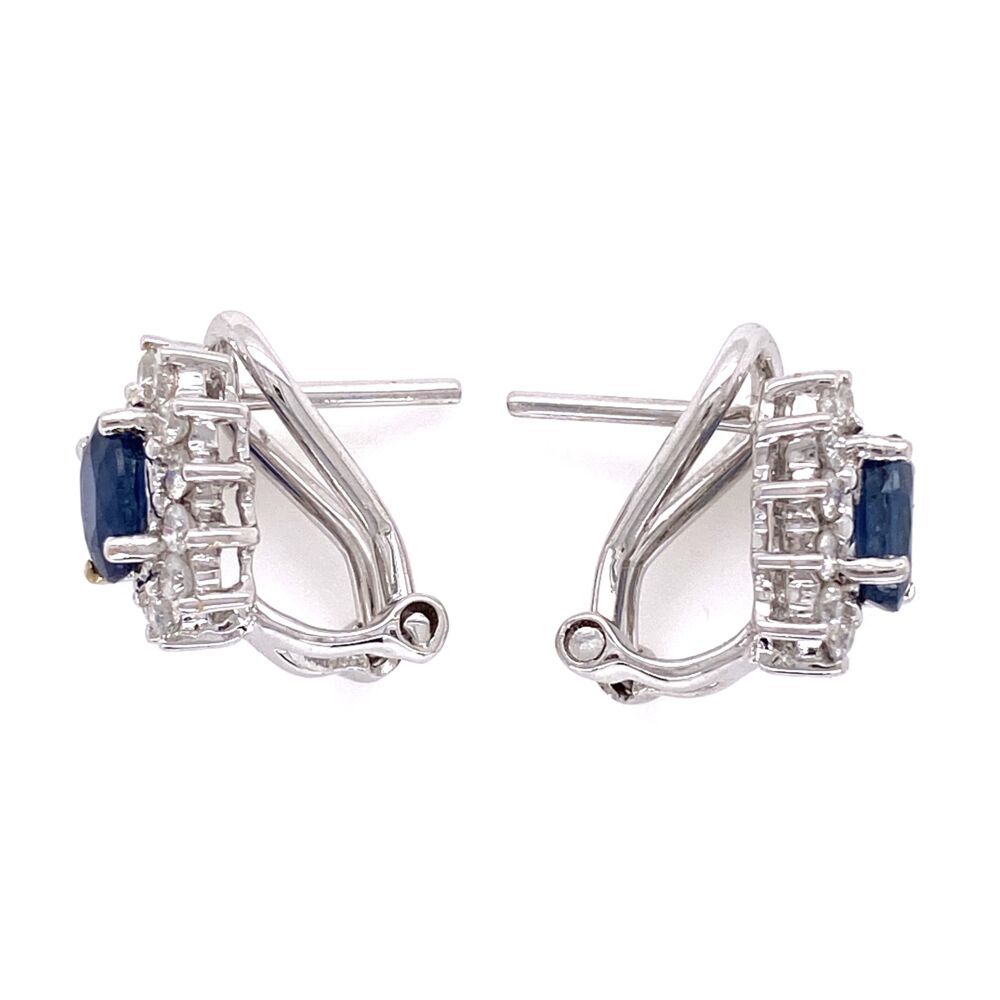 Image 2 for 18K White Gold 1.00tcw Sapphire & .75tcw Diamond Halo Clip Earrings 4.3g