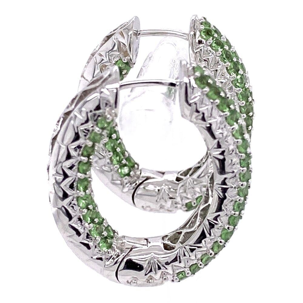"""Image 2 for 14K White Gold Inside Out Tsavorite & Diamond Hoop Earrings 3.10tcw 10.7g, 1"""""""