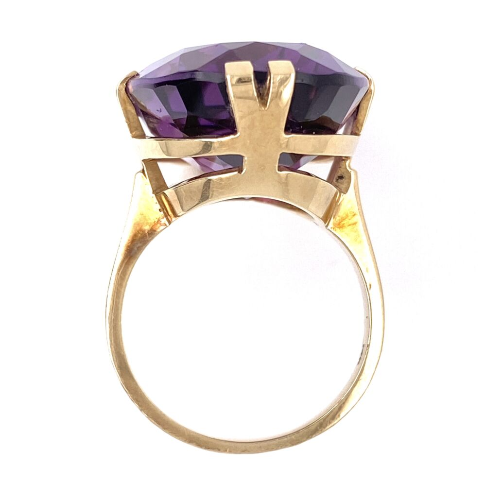 Image 2 for 14K Yellow Gold 20ct Oval Amethyst Split Prong Soliatire 10.3g, s6.5